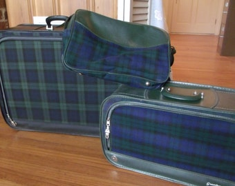 Tartan Luggage 3 pc Vintage Set