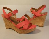 Pink Flamingos - NOS Franco Sarto Coral Pink Strappy Leather Wedge Sandals - 8.5