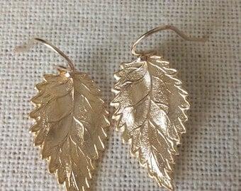 Leaf Earrings, Gold Earrings, Dangle Earrings, Gold Filled Leaf Earrings, Bridal, Weddings, Bridal Gifts, Christmas Gifts, Stocking Stuffers