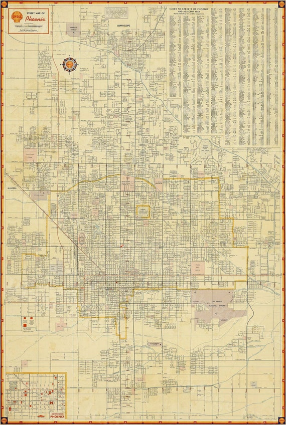 Old Phoenix Map Vintage Phoenix Arizona map print Antique Restoration Hardware Style Map of Phoenix Arizona Wall Map Arizona Map Home decor