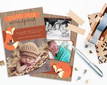 Rustic Fox - Photo Baby Announcement
