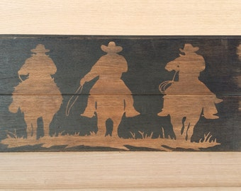 Reclaimed wood sign - Reclaimed wall art- cowboy sign - rustic sign