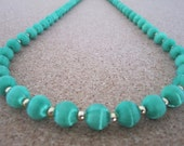 Vintage Silk Bead Necklace - Emerald Green Color - Retro Jewelry - Use, Upcycyle or Recycle