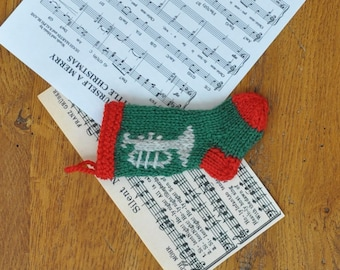 Trumpet Musician Hand-Knit Christmas Stocking Ornament