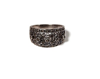 Sterling Silver Filigree Marcasite Ring Size 7 - Vintage Sterling Silver Ring