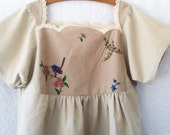 reserved for Carrie - australian linen dress womens natural linen with blue bird hand embroidered bodice size 10-12