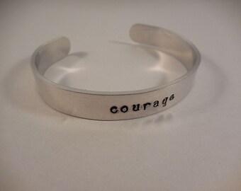 Courage Aluminum Cuff Bracelet