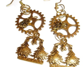 Steampunk Merry Christmas Earrings Holiday Steampunk Earrings Holiday Earrings Christmas Earrings Trees Christmas Time Steampunk Holiday