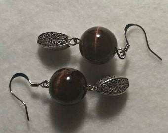 Tiger Eye and Silver Tone Earrings No. 273