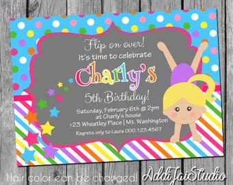 Gymnastics birthday printable 5x7, 4x6 or 4x5.5 party invitation