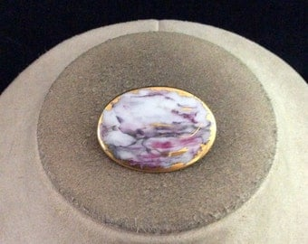 Vintage White Pink Purple Enameled Goldtone Pin