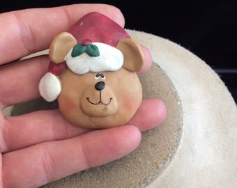Vintage Christmas Teddy Bear With Hat Pin