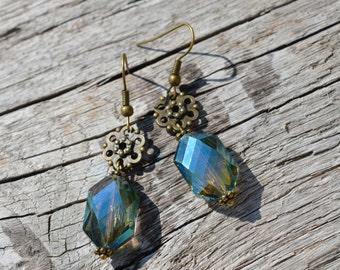 Crystal glass beads dangle earrings