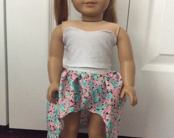 American Girl Doll Floral High Low Skirt & Bustier