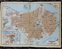 1909 Havana Map [7.9 x 5.8 in] El Capitolio, La Habana, Plaza de la Catedral, Castillo de San Salvador de la Punta, Castillo de la Real fort