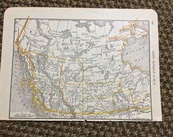 1893 Canada Map [6.3 x 4.5 in.] Original 1800 Canadian Map