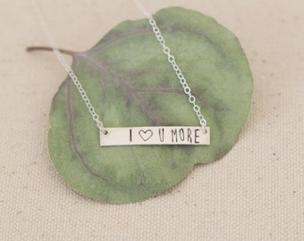 I Love You More Bar Necklace, Sterling Silver Love You More Necklace, I Love You More Silver Necklace, Heart You Necklace, Valentine's Gift