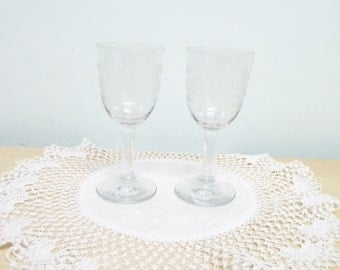 Sherry or Small Liqueur Glasses x 2, Harlequin or Greek Key, Late Victorian, Snifter, Fortified Wine or Port, Clear Glass, Hand Etched