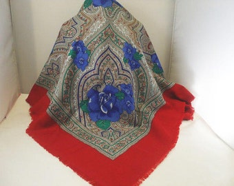 Vintage Floral Scarf Made In Italy / Stunning Designs and Vivid Colors
