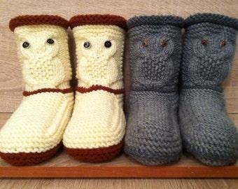 Owl Slippers-Knitted Slipper Booties-Gray Knit Slippers-Knit Owl Booties-Owl Accessories-Knitted Slippers For Men-Women's Slippers