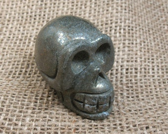 Pyrite Skull Carving - 1.8 inches - Item 73760