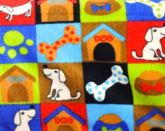 Dogs and Houses Blocks Anti Pill Fleece Fabric, 60 Inches Wide and Sold By The Yard 2799