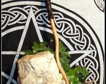 "13.5"" Teak wooden Wand with 5000 yr old Irish Bog Oak handle Altar tool Pagan Wiccan Witch"