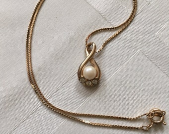 Faux Pearl and Rhinestone Necklace