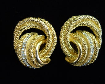 Elegant Dior clip earrings=gold tone and crystal signed Ch  Dior vintage earrings=classy dior designer earrings=vintage classic dior jewelry