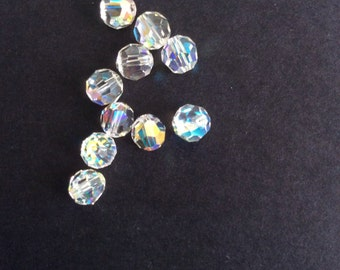 Supplies, Swaorovski crystal beads, Faceted round 6mm crystals, Sparkling Ab, pack of 10
