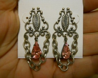 Banana Bob pierced silver ox earrings with pink stones .99 shipping!