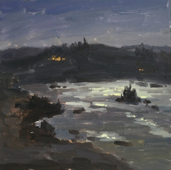 Umpqua Nocturne  - Original contemporary Landscape painting - Oil Painting