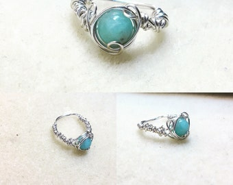 Wire wrapped aqua ring