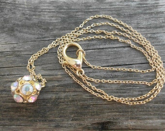 """Gold """"Disco ball"""" long layering necklace/bohemian/boho chic/minimalist/aurora borealis/pave rhinestones/gold chain maille/lobster clasp"""