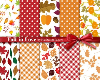 "Autumn digital paper : ""Fall In Love"" fall digital papers with leaves and acorns / orange and yellow digital papers, Halloween,f all pattern"