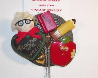 Teacher / School theme,  1-of-a-kind Collage Brooch and/or Pendant made w/ vintage jewelry. Red Apple, pencil, abc, gold. #17h.