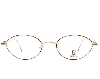 Fendi F501 Antique Totoise Shell   Vintage Wire Frame 1990's  Eyeglasses Made in Italy