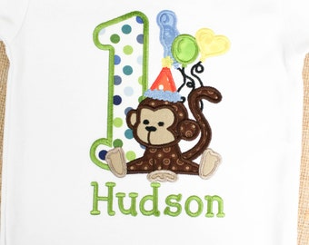 Personalized Tshirt for Girls or Boys with Happy Birthday Monkey with Balloons and Party Hat