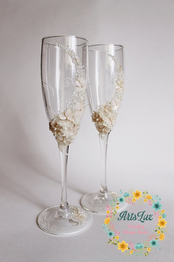 Ivory Wedding champagne glasses-Gentle Wedding toasting
