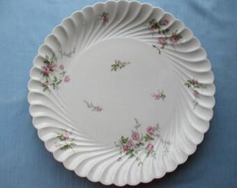 Large serving, Cake Plate,  Limoges, porcelain,  Haviland stamp on base, roses, fluted edges, party, stylish