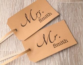 Leather luggage tag, personalized luggage tag, custom laser engraved luggage tag, wedding couple luggage tags, Mr and Mrs luggage tags