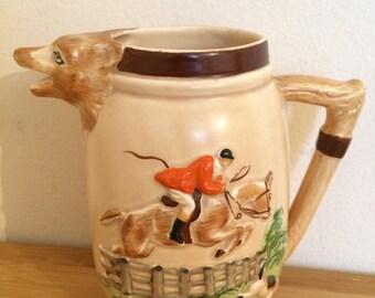 Vintage KSP Keele Street Pottery England Earthenware Hunting Scene Jug with Fox Head Spout