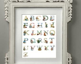 Alphabet Print, Beatrix Potter Alphabet Letters, Children Name Plaque Letters, Peter Rabbit Nursery Print , Wall Décor