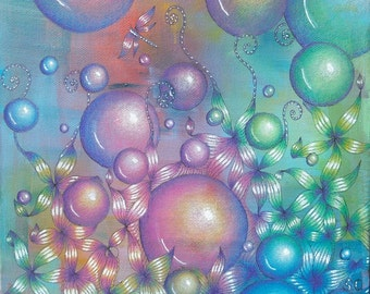 Awaiting the Fae art print, mythical art, mythical fairy art, bubbles in art, rainbow vibrant artwork, archival print mounted and signed