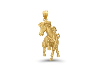 14k solid gold prancing horse pendant. animal jewelry, horse pendant