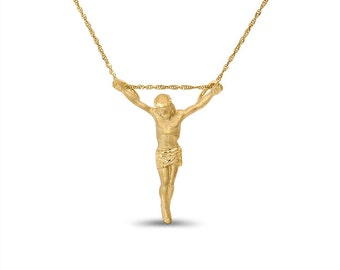 "14k solid gold jesus pendant/slide on an 18"" solid gold chain. religious jewelry"