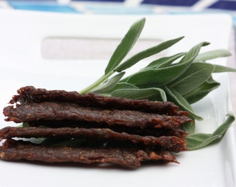 Teriyaki Beef Jerky, made with 90% lean ground beef.