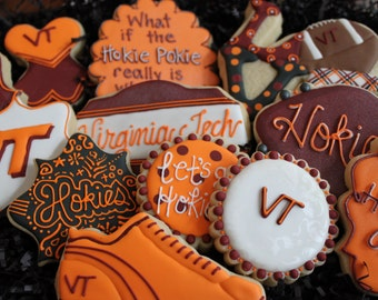 Virginia Tech Football Cookies, College Football , Hokies, VT, tailgating, custom cookies, Virginia Tech graduation, cheerleader, football