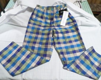 JOSEPHINE CHAUS Petite, Vintage 100% Silk Multi Colored Checkered Pants, Women's Size 4, New With Tags!