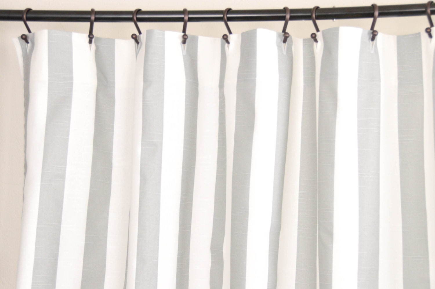 Shower Curtains: Fabric Shower Curtain STRIPE ASH 72 Width X